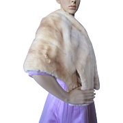 Vintage Mink Stole in Palomino Tone Satin Lined Emil Mladehi Marhoul Furs Clinton Iowa
