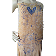 1920 Era Beaded Flapper Dress in Peach and Blue for Salvage