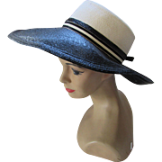 Wide Brim High Crown Hat in Black and Cream by Oleg Cassini Young America