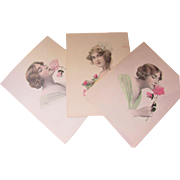 Trio Hand Painted Prints of Lovely Ladies 1911 Schlesinger Brothers