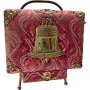 Victorian Era Standing Photo Album in Red Velvet with Liberty Bell