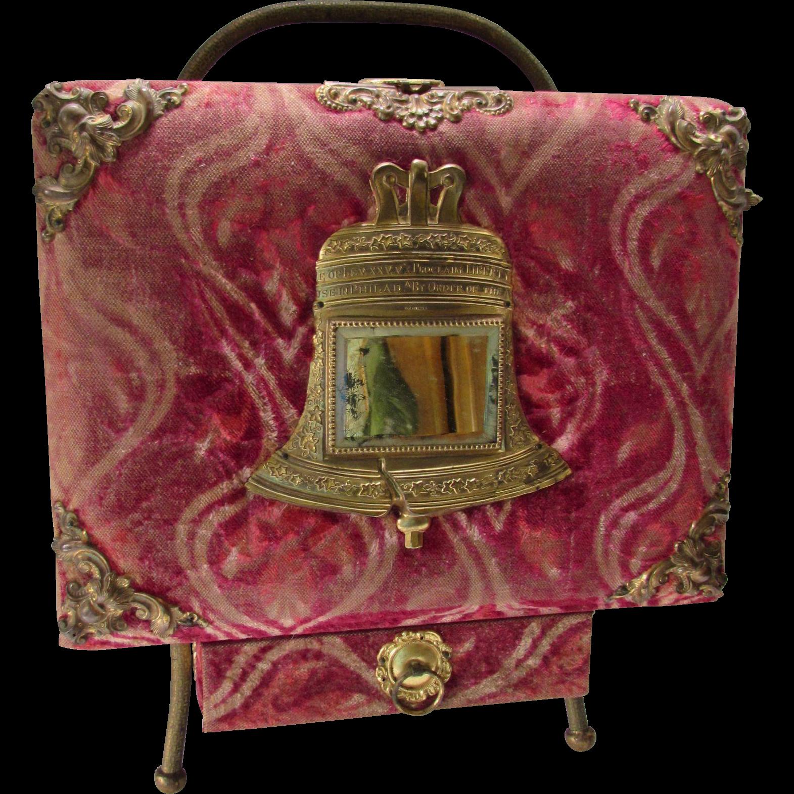 Victorian Era Standing Photo Album in Red Velvet with Liberty Bell