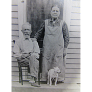Vintage Black and White Photo Farm Couple with Farm Dogs