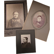 Trio Victorian Black and White, Sepia Photographs Women Marysville Kansas