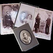 Four Couples Theme Cabinet Cards Victorian Era Photographs Cartes de Visite Kansas Nebraska Origin