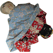 Vintage Topsy Turvy Sock Dolls in Vintage Prints of Red and Blue