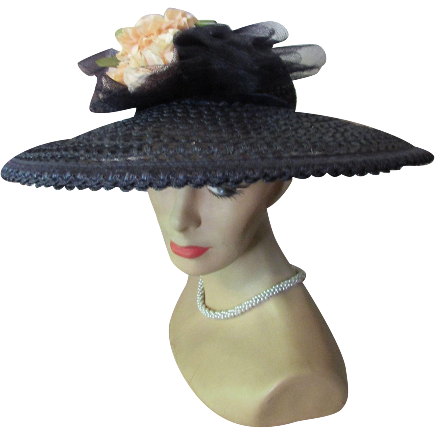 Sophisticated Navy Straw Hat Picture Style with Open Work and Clutch of Peach Roses Mid-Century