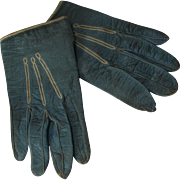 Child or Large Doll Leather Gloves in Teal