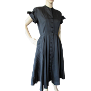 1950 Style Black Dress with Winged Cap Sleeve Cuffs and Button Front Parklane Juniors New Look