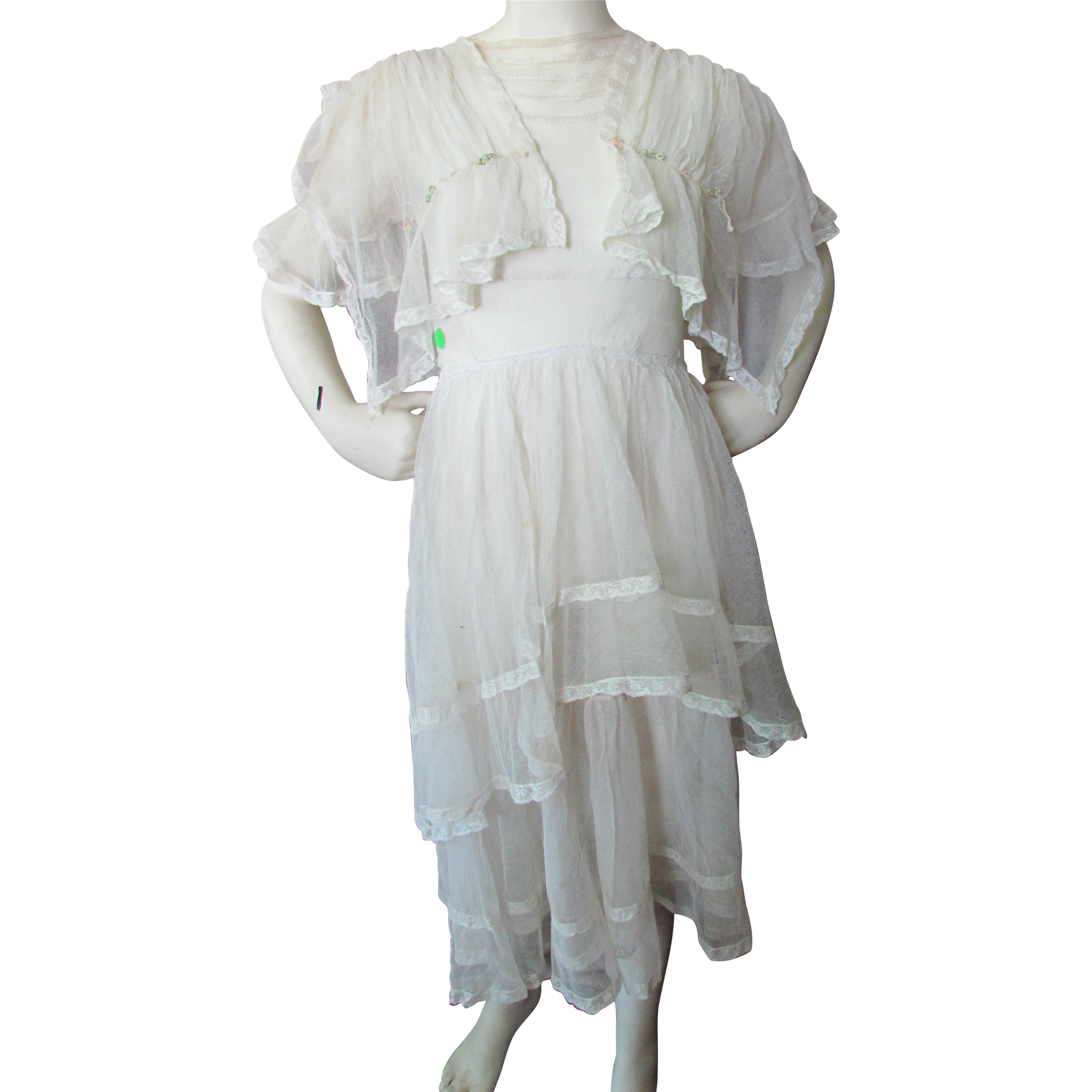 Delicate 1920's Net and Lace Dress for Summer Graduations and Weddings Extra Small