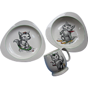 Vintage Spode Cutie Kitten Child's China Set 1950 Era Triangular Design
