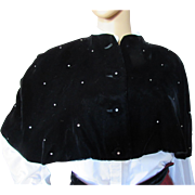Vintage Cape in Black Velvet and Scattered Clear Rhinestones Mid Century