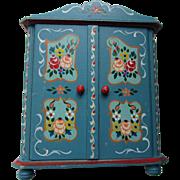 Dora Kuhn Wood Doll Furniture Armoire Dresser in Blue Paint German Folk Art with Tag