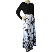 1970 Style Long Skirt in White with Black Flowers Polyester