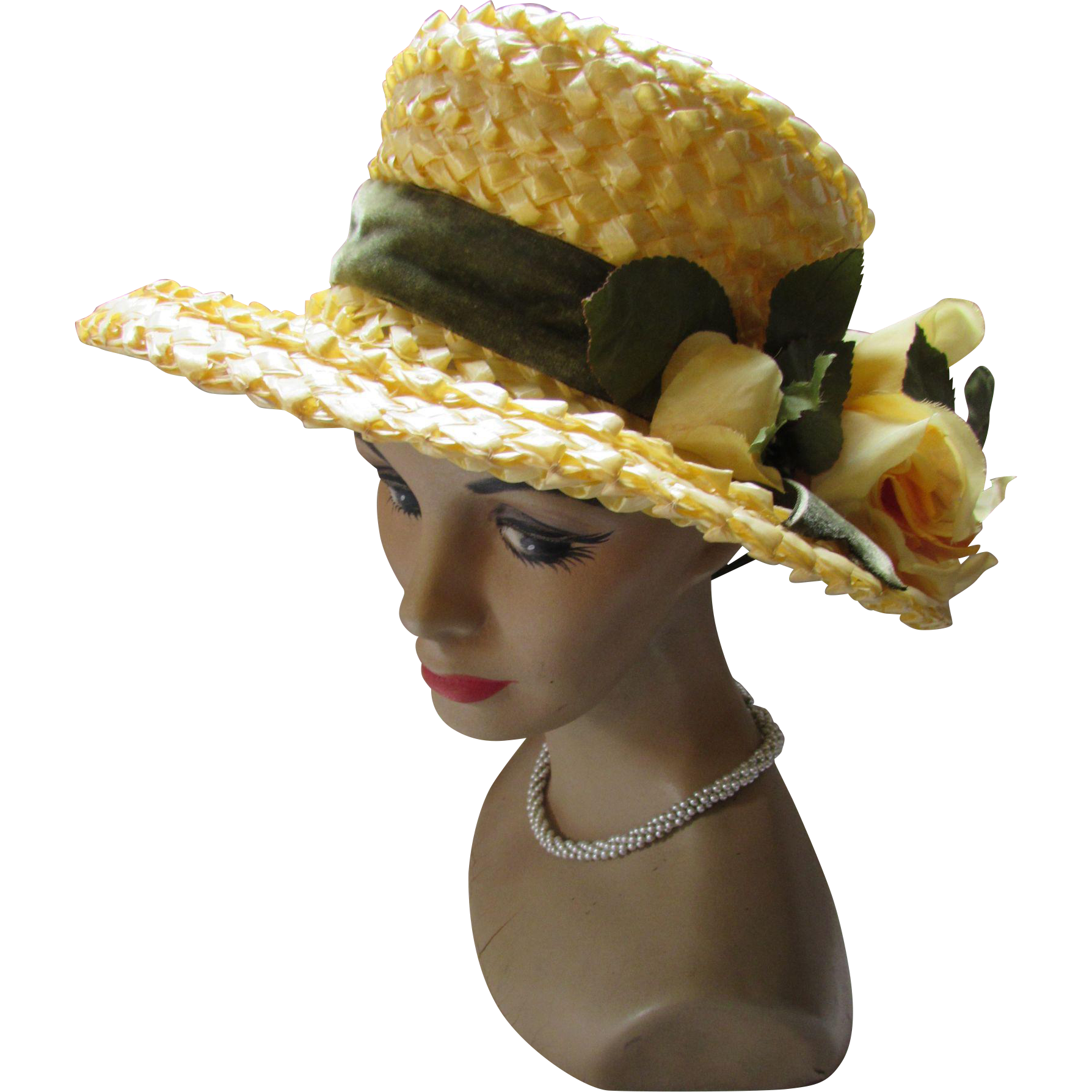 Sunny Yellow High Crown Hat in Cellophane with Large Yellow Rose Artisan Made Vi Williams