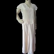 Feminine Pajama Set in Peach with Wide Palazzo Pants '40's Style