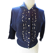 Vintage Knit Sweater in Navy Wool with Faux Pearl Decoration Koldin Original Knits