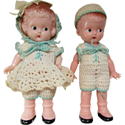 Cutest Pair Plastic Dolls Boy Girl in Matching Crochet Outfits and Hats