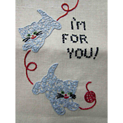 Cottage Style Pair Tea or Hand Towels Embroidered Kittens Playing with Ball of Yarn