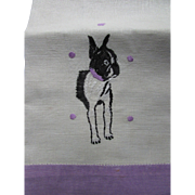 Pair Hand Towels or Tea Towels with Boston Terrier with Lavender Edging