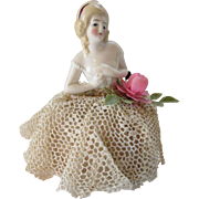 Porcelain Half Doll Pincushion with Crochet and Lace Skirt