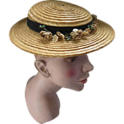 Mid Century Summer Straw Hat with Flower Swag by Fisk