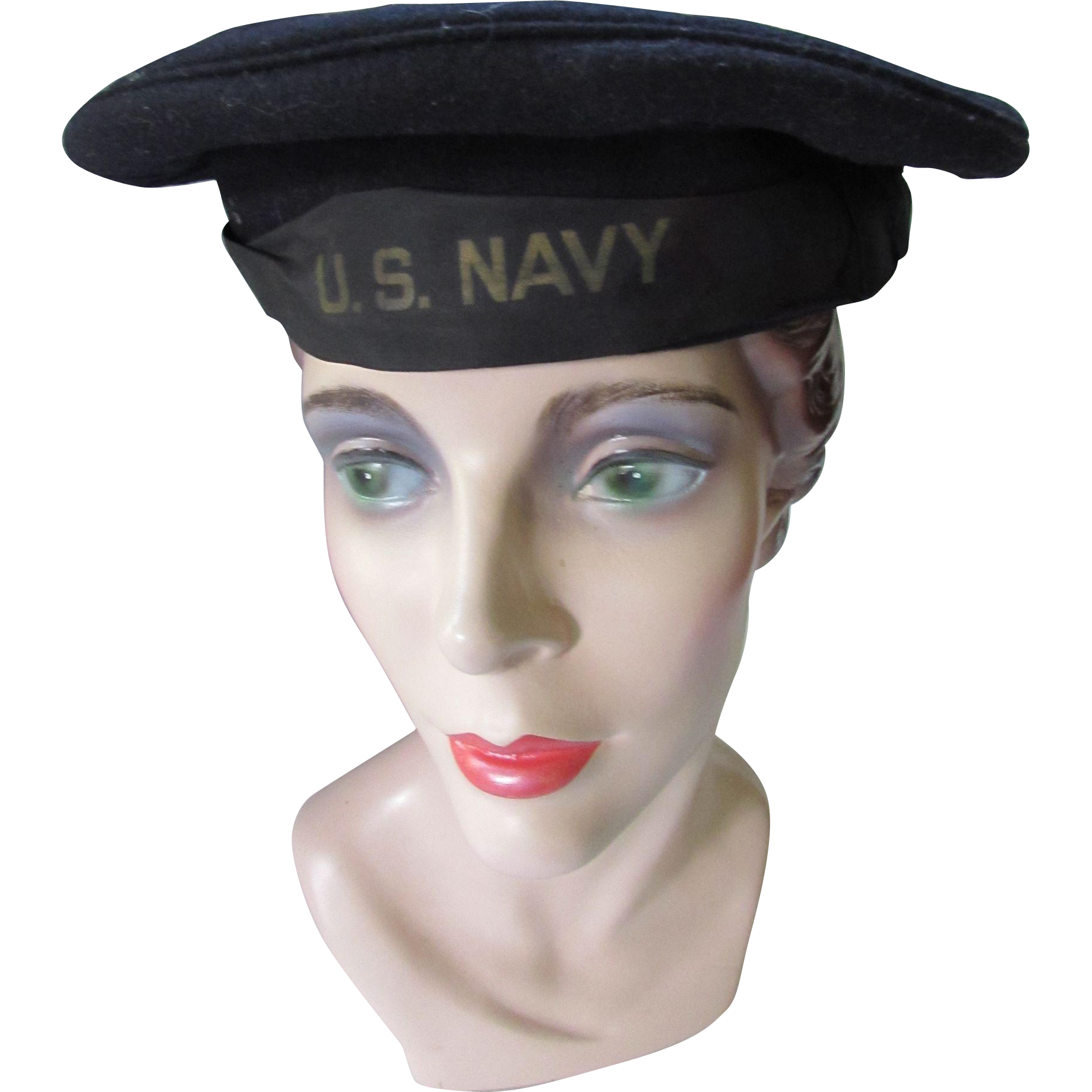 U S Navy WWII Era Flat Hat or Dixie Cup Hat or Donald Duck Hat