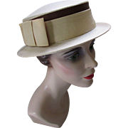 Ladies Boater Style Hat in Cream and Latte Fabric