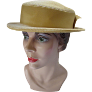 Boater Style Hat in Butter Tone Straw with Cumin Tone Ribbon Band