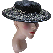 Mid Century Black Woven Hat with White Chenille Dotted Veil