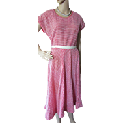 Summer Dress 1950 Style in Red and White Nylon by Fourell