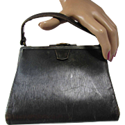 Turn of the Century Black Leather Handbag Small Size Victorian Edwardian Era