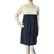 1960 Style Empire Waist Dress in Ecru Lace and Black Crepe Modesty at Play