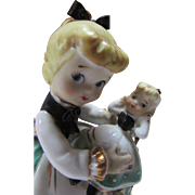 Lefton Exclusive Little Girl Holding Matching Doll in Ceramic Made in Japan with Original Tag 1946-1953