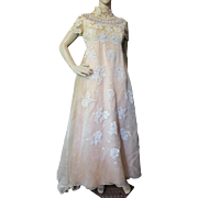 Peach Evening Gown Empire Waist Flowing Skirt with Lace and Bead Applique 1970 Style by Priscilla of Boston