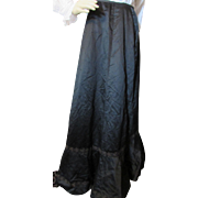 Fabulous Victorian Era Black Mourning Skirt with Padded Bustle