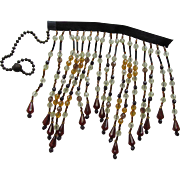 Piece Beaded Fringe Originally for Lamp Shade in Tones of Root Beer and Butterscotch for Repurposing or Salvage