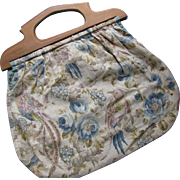 Cottage Style Sewing or Work Bag with Vintage Faded Fabric and Wood Handles