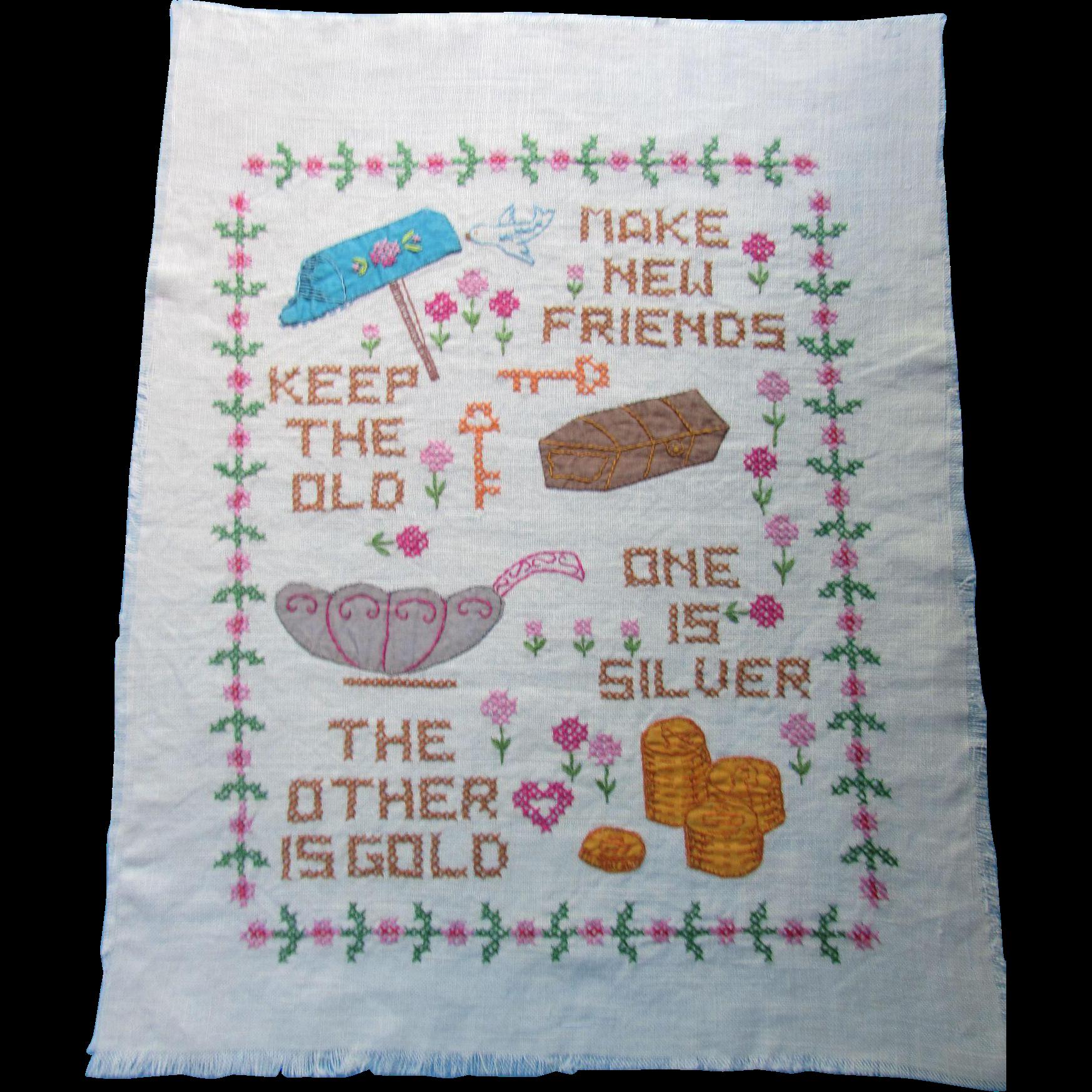 Cross Stitch and Applique Sampler Make New Friends