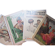 Grouping 4 Mounted Magazine Covers from 1909 1918 1928 1930 Woman's World Modern Priscilla Saturday Evening Post Country Gentleman