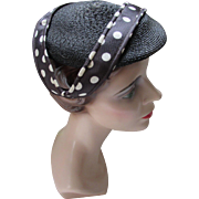 Black Millinery Straw Hat with White Polka Dot Bands by Pasadena Hats