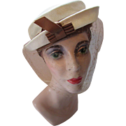 Vintage Topper Hat in Cream with Latte Tone Ribbon Accents for Summer or Spring
