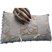 Cottage Style Small Pillow in Filet Crochet and Pink Satin Large Doll Size  Pincushion Size