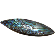 Beautiful Blue Green Abalone Sewing Shuttle with Reverse in Silvery White