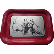 Vintage Scottie Dog Metal Tray in Silver, Red, and Black