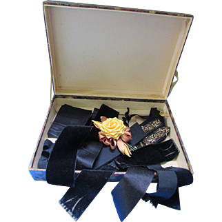 Decorative Box of Vintage Trims Black Velvet Moire for Doll Clothing or Repair of Vintage Clothing