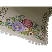 Long Linen Runner with Embroidered Blossoms in Purple, Marigold, Turquoise and Rose