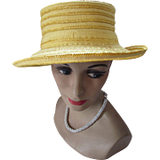 Spring Summer Hat in Lemon Yellow Fabric and Straw by Miriam Lefcourt Italy
