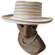 Spring or Summer Hat in Cream Fabric and Straw Elegantly Yours by Miriam Lefcourt Made in Italy