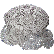Lovely Madeira Style Table Mats and Rounds in Ecru Tone Vintage Table Ware